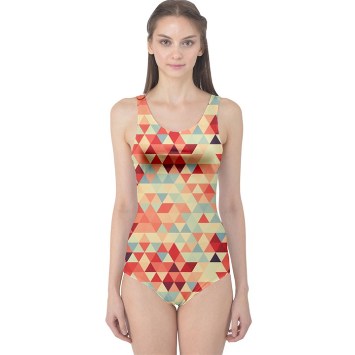 Modern Hipster Triangle Pattern Red Blue Beige One Piece Swimsuit