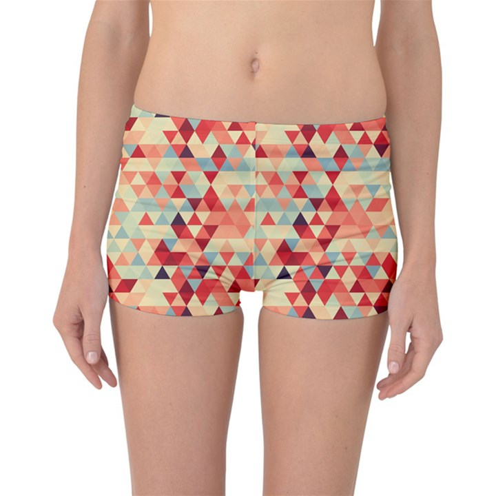 Modern Hipster Triangle Pattern Red Blue Beige Reversible Boyleg Bikini Bottoms