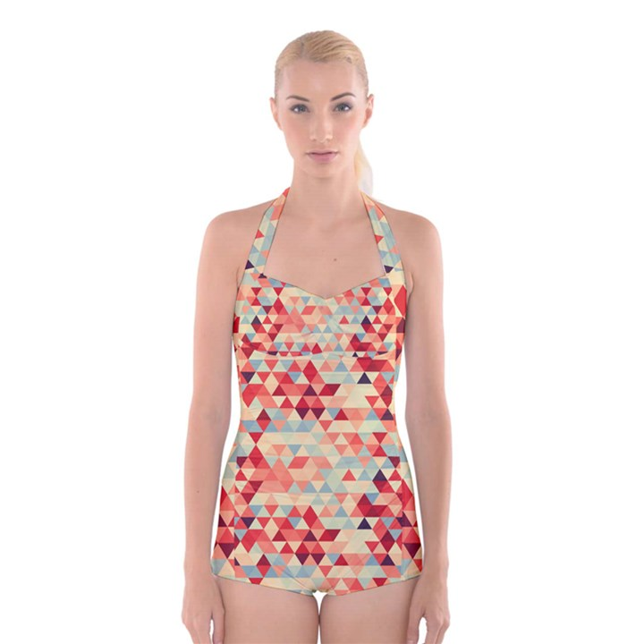 Modern Hipster Triangle Pattern Red Blue Beige Boyleg Halter Swimsuit