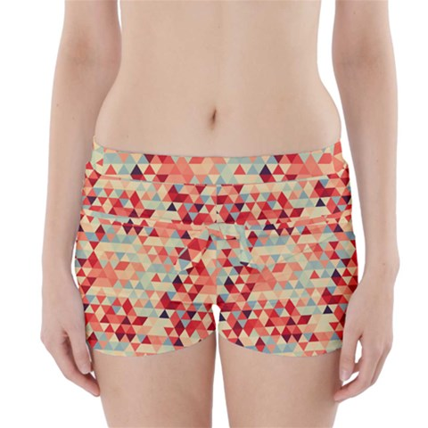 Modern Hipster Triangle Pattern Red Blue Beige Boyleg Bikini Wrap Bottoms