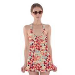 Modern Hipster Triangle Pattern Red Blue Beige Halter Swimsuit Dress
