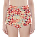 Modern Hipster Triangle Pattern Red Blue Beige High-Waisted Bikini Bottoms View1