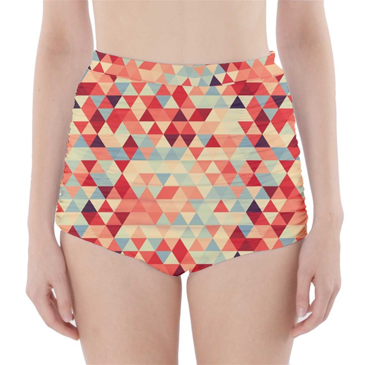 Modern Hipster Triangle Pattern Red Blue Beige High-Waisted Bikini Bottoms