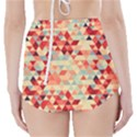 Modern Hipster Triangle Pattern Red Blue Beige High-Waisted Bikini Bottoms View2