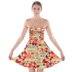 Modern Hipster Triangle Pattern Red Blue Beige Strapless Bra Top Dress