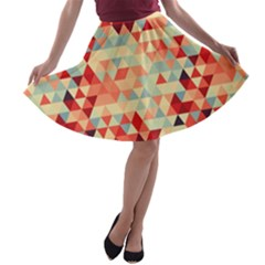 Modern Hipster Triangle Pattern Red Blue Beige A Line Skater Skirt