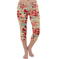 Modern Hipster Triangle Pattern Red Blue Beige Capri Yoga Leggings