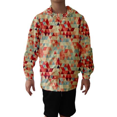 Modern Hipster Triangle Pattern Red Blue Beige Hooded Wind Breaker (Kids)