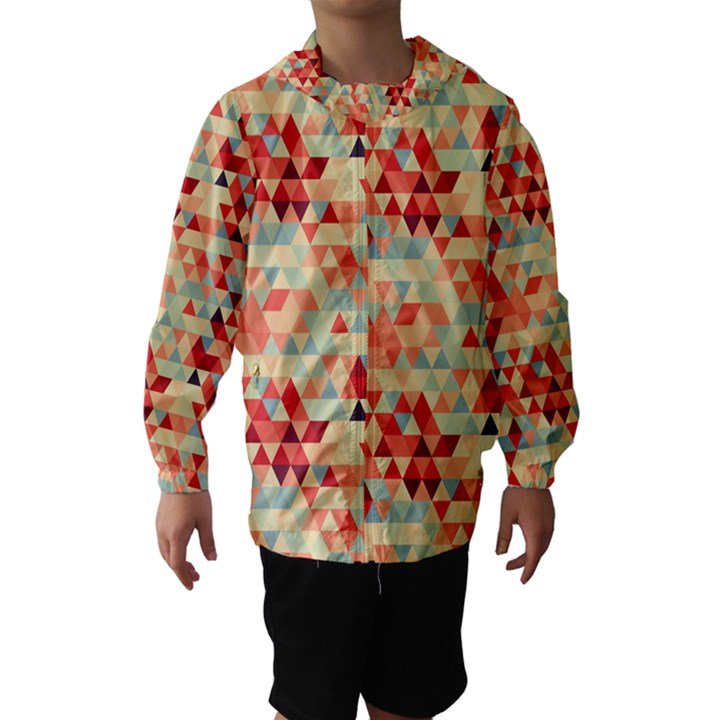 Modern Hipster Triangle Pattern Red Blue Beige Hooded Wind Breaker (Kids)