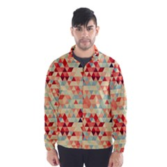 Modern Hipster Triangle Pattern Red Blue Beige Wind Breaker (men)