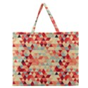 Modern Hipster Triangle Pattern Red Blue Beige Zipper Large Tote Bag View1