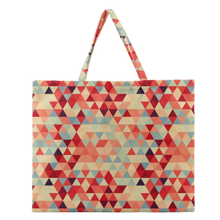 Modern Hipster Triangle Pattern Red Blue Beige Zipper Large Tote Bag