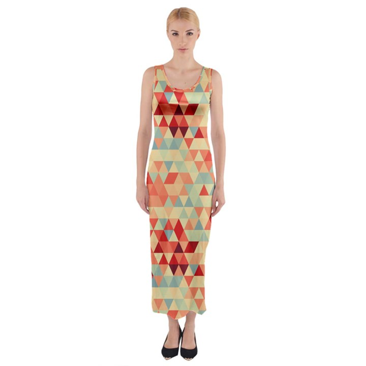 Modern Hipster Triangle Pattern Red Blue Beige Fitted Maxi Dress