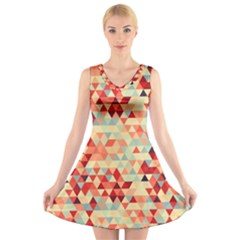 Modern Hipster Triangle Pattern Red Blue Beige V Neck Sleeveless Skater Dress