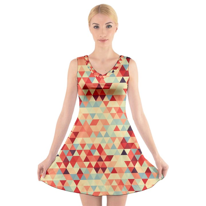 Modern Hipster Triangle Pattern Red Blue Beige V-Neck Sleeveless Skater Dress
