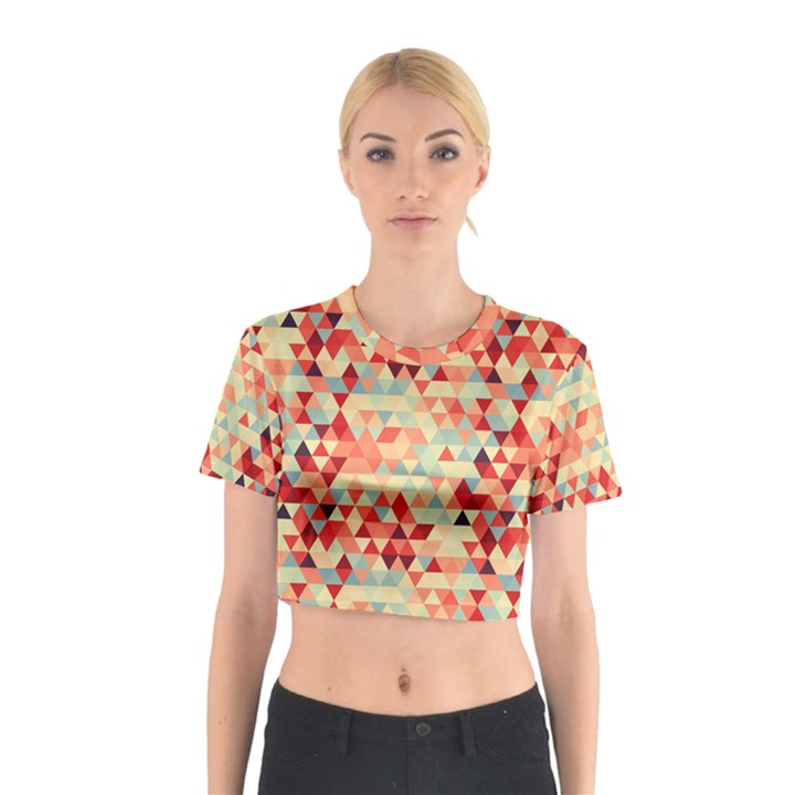 Modern Hipster Triangle Pattern Red Blue Beige Cotton Crop Top