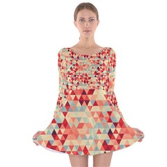 Modern Hipster Triangle Pattern Red Blue Beige Long Sleeve Velvet Skater Dress