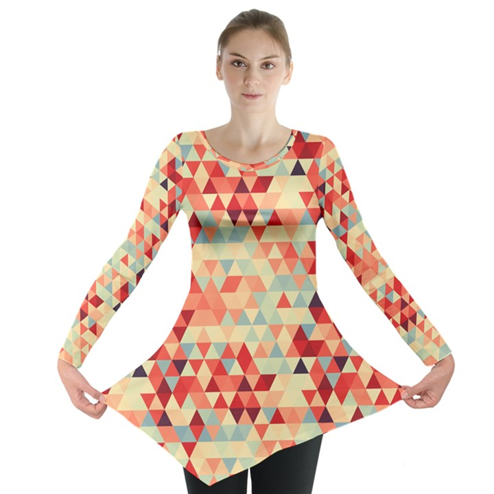 Modern Hipster Triangle Pattern Red Blue Beige Long Sleeve Tunic