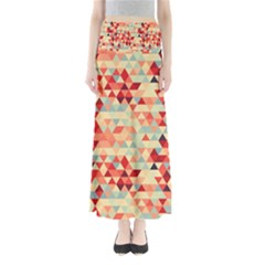 Modern Hipster Triangle Pattern Red Blue Beige Maxi Skirts