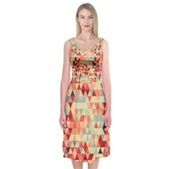 Modern Hipster Triangle Pattern Red Blue Beige Midi Sleeveless Dress