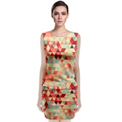 Modern Hipster Triangle Pattern Red Blue Beige Classic Sleeveless Midi Dress