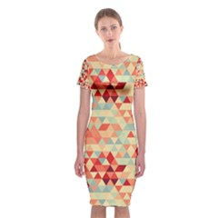 Modern Hipster Triangle Pattern Red Blue Beige Classic Short Sleeve Midi Dress