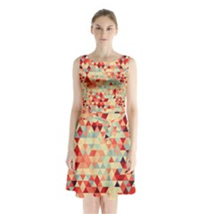 Modern Hipster Triangle Pattern Red Blue Beige Sleeveless Chiffon Waist Tie Dress