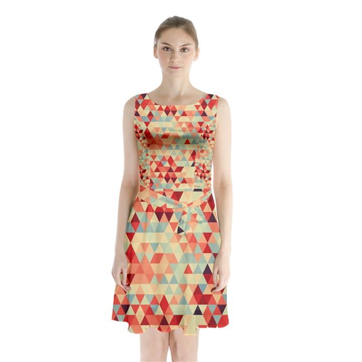 Modern Hipster Triangle Pattern Red Blue Beige Sleeveless Chiffon Waist Tie Dress