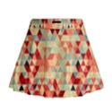 Modern Hipster Triangle Pattern Red Blue Beige Mini Flare Skirt View1
