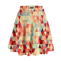 Modern Hipster Triangle Pattern Red Blue Beige High Waist Skirt