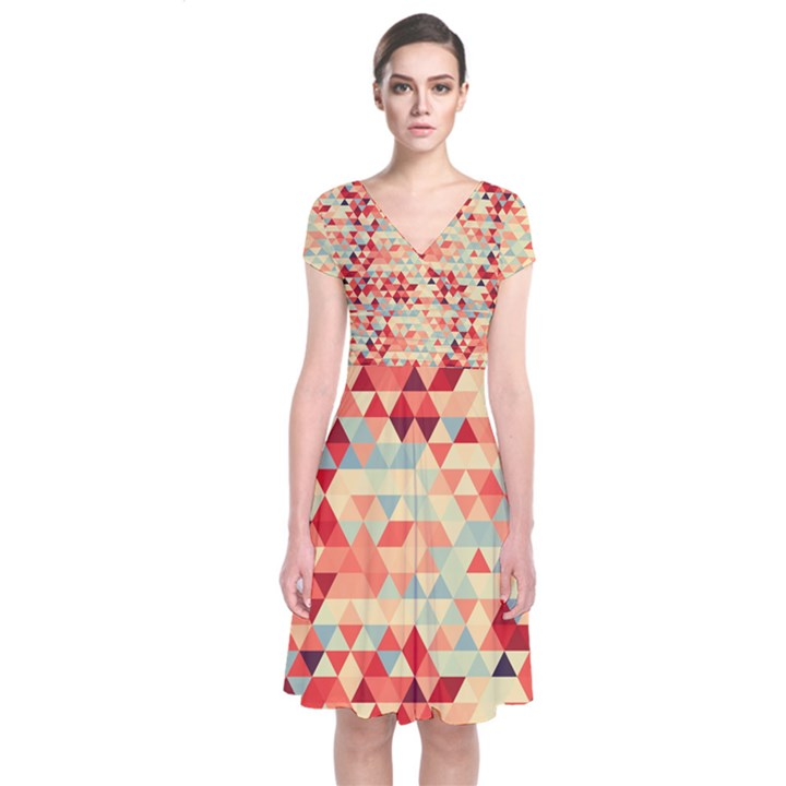 Modern Hipster Triangle Pattern Red Blue Beige Short Sleeve Front Wrap Dress