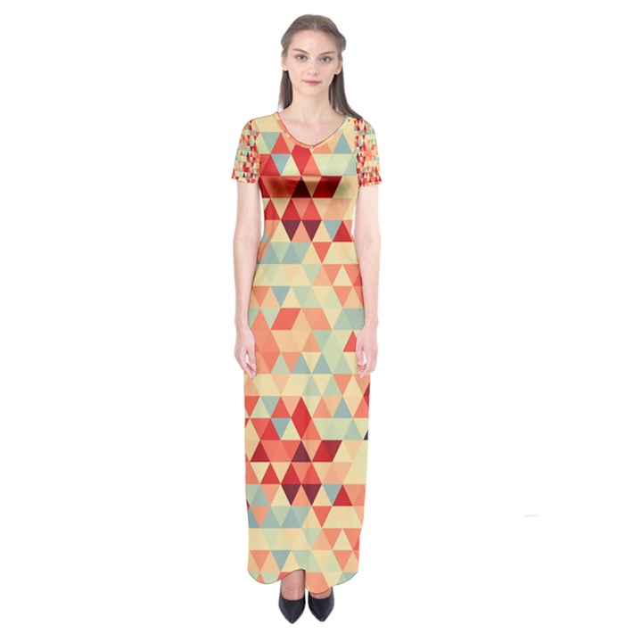 Modern Hipster Triangle Pattern Red Blue Beige Short Sleeve Maxi Dress