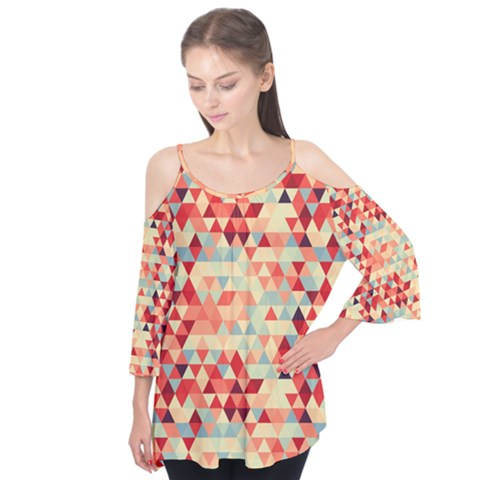 Modern Hipster Triangle Pattern Red Blue Beige Flutter Tees