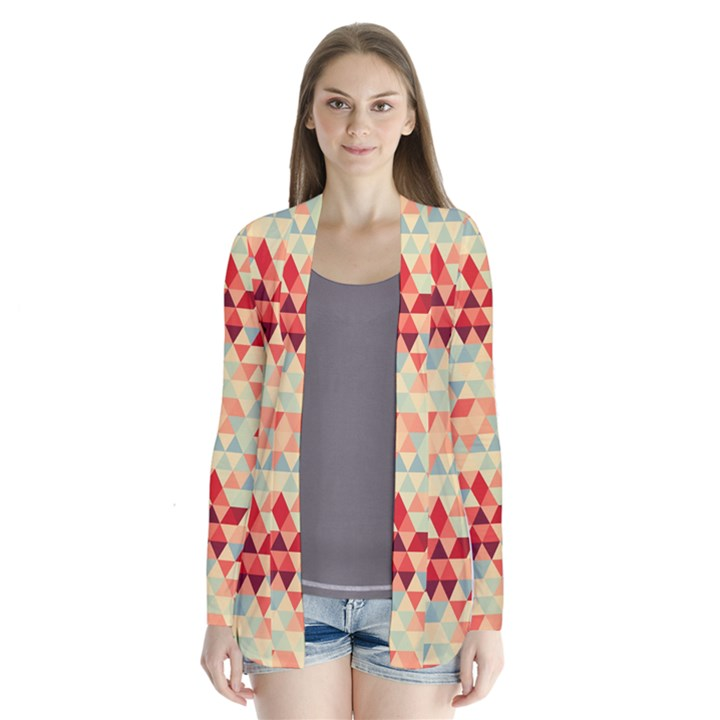 Modern Hipster Triangle Pattern Red Blue Beige Drape Collar Cardigan