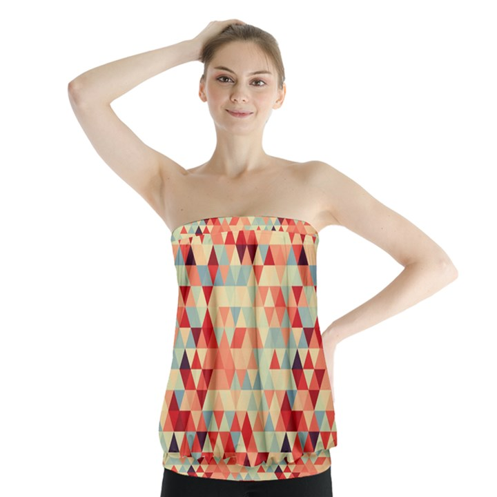 Modern Hipster Triangle Pattern Red Blue Beige Strapless Top