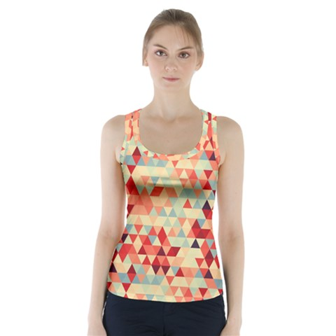 Modern Hipster Triangle Pattern Red Blue Beige Racer Back Sports Top