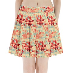 Modern Hipster Triangle Pattern Red Blue Beige Pleated Mini Skirt