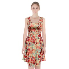 Modern Hipster Triangle Pattern Red Blue Beige Racerback Midi Dress