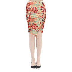 Modern Hipster Triangle Pattern Red Blue Beige Midi Wrap Pencil Skirt