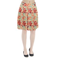 Modern Hipster Triangle Pattern Red Blue Beige Pleated Skirt