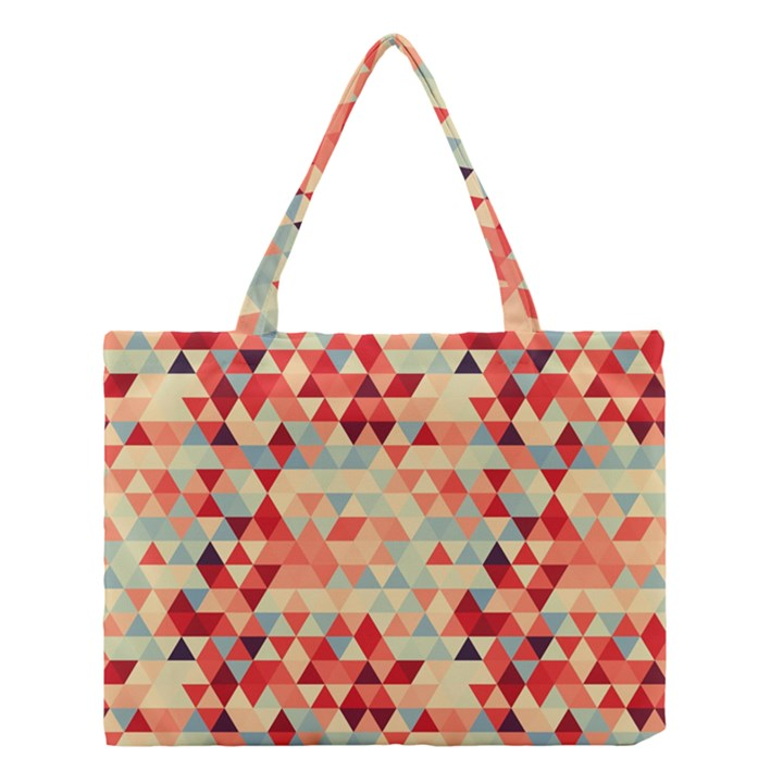 Modern Hipster Triangle Pattern Red Blue Beige Medium Tote Bag