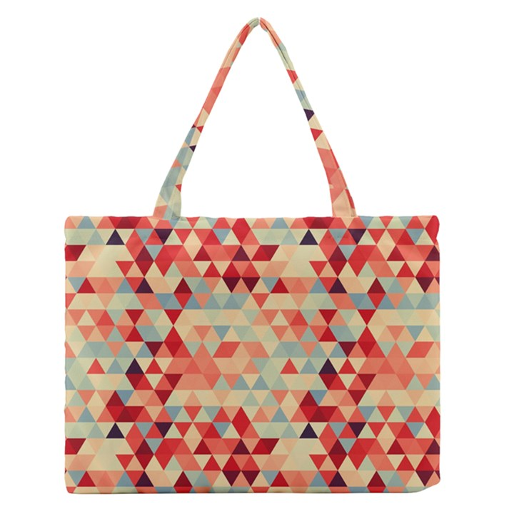 Modern Hipster Triangle Pattern Red Blue Beige Medium Zipper Tote Bag