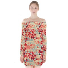 Modern Hipster Triangle Pattern Red Blue Beige Long Sleeve Off Shoulder Dress