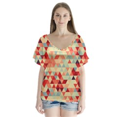 Modern Hipster Triangle Pattern Red Blue Beige Flutter Sleeve Top