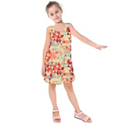 Modern Hipster Triangle Pattern Red Blue Beige Kids  Sleeveless Dress