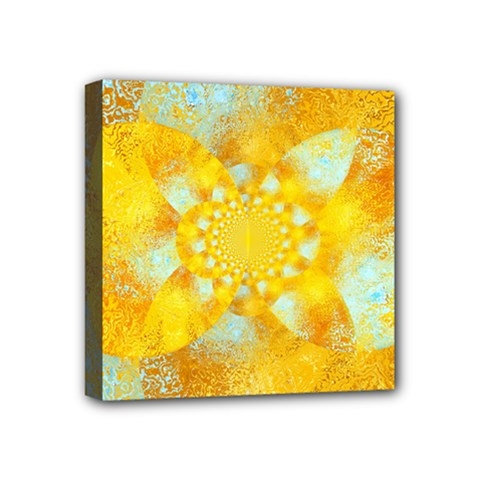 Gold Blue Abstract Blossom Mini Canvas 4  X 4