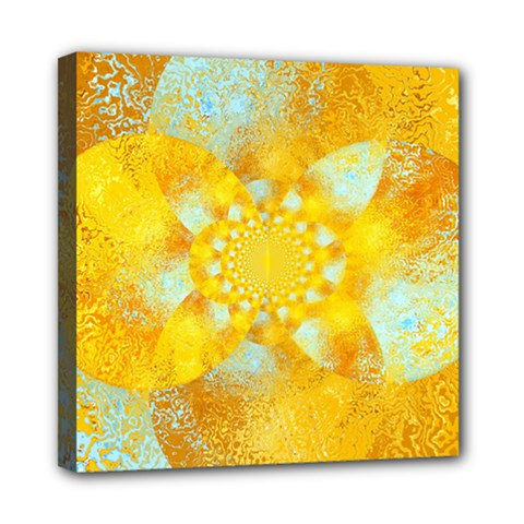Gold Blue Abstract Blossom Mini Canvas 8  x 8