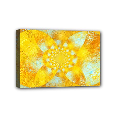 Gold Blue Abstract Blossom Mini Canvas 6  x 4