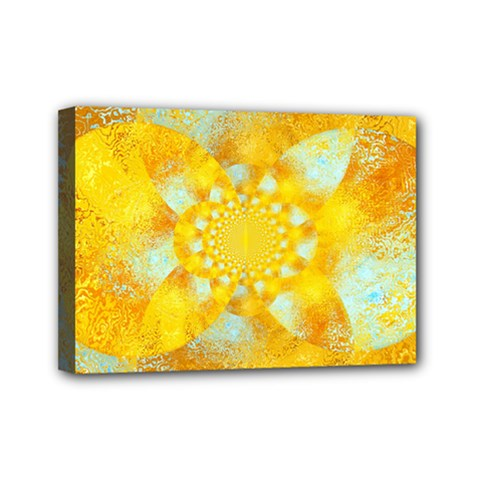 Gold Blue Abstract Blossom Mini Canvas 7  x 5