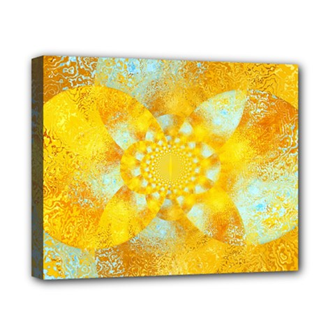 Gold Blue Abstract Blossom Canvas 10  x 8